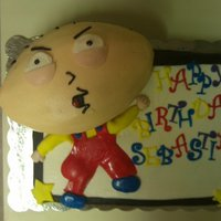 Stewie Griffin- Family Guy Cake As requested by the 12 year old birthday boy: he wanted a Stewie Griffin cake :) Three layers: Vanilla, Chocolate and Vanilla cakes with...