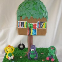 Barney Treehouse Cake My daughter wanted a Treehouse cake for her birthday and she wanted Barney. She also wanted to decorate her own cake this year. It was all...