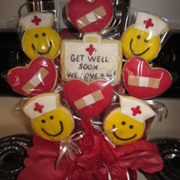 Smiley Face Get Well Soon Cookies Smiley Face and Band Aid Hearts for my Uncle having Brain Surgery.