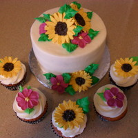 Happy Mothers Day Gum paste sunflowers and royal icing flowers