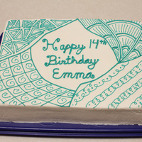 Buttercream Zentangle Design My daughter started doing Zentangle this year. I looked at what she was doing and decided it might be a fun technique to try on a cake. So...
