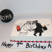 Spy Vs Spy Birthday Cake  This was a sheet cake I did for my son's birthday. He was really into Spy vs. Spy from the old Mad Magazine. It's done in...