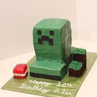 "Minecraft Creeper Birthday Cake  This cake is done in buttercream. It's stacked and I just colored the bottom part inbetween the front and back ""legs"" black..."