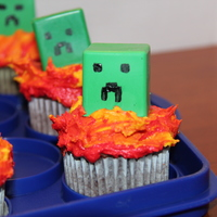 Minecraft Creeper Cupcakes  These are some cupcakes I made for my son's birthday. They are the creeper character from Minecraft. Creepers explode in the game so...