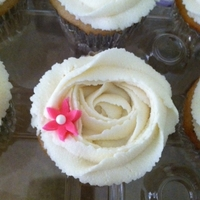 Rose Cupcake confetti cupcake with white chocolate buttercream and pink MMF flower for my niece's birthday party