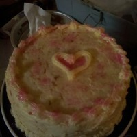 My Sister's Birthday Cake  My sister's birthday cake-she requested yellow with the fruit SMBC and she didn't want anything fussy. I put a heart in the...