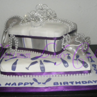 Diva Cake Customer gave me a pic of a cake she wanted. The original design had a shoe on top & the one of the sides had shopping bags instead of...