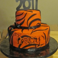 Olney Tigers Graduation Cake   Two tier vanilla and chocolate cake with buttercream icing and fondant 'tiger stripes'.