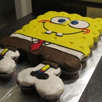 Spongebob Cupcake Cake I was asked to make something in the theme of spongebob..... Thanks to CC ideas i was able to come up with this not perfect but this was my...