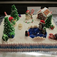 Winter Wonderland This is a cake that i made for my Christmas party at work, it is a chocolate cake with chocolate filling and buttercream frosting. All the...
