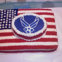 Airforce Cake This is a chocolate cake with choc ganache in the center frosted and stared in buttercream.... I made this for a girl at work that was...