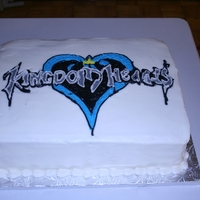 Kingdom Hearts Groom's Cake Black and white cake with traditional buttercream FBCT image