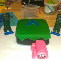 Allergen Free Minecraft Birthday Cake   Allergen free Minecraft. RKT piggy and creepers. The A is for my son's first name