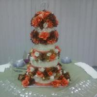 Fall Flowers Wedding Cake
