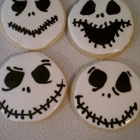Jack Skellington Cookies   This weekend's project :) Sugar cookies decorated with RI