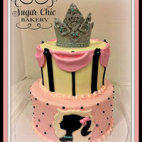 "Princess Barbie This is a 6"" and 8"" butter cream cake with fondant accents.The client wanted a touch of aqua so there are aqua peals as the..."