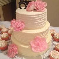 3-Tiered Wedding Cake   Wedding cake decorated with wafer paper roses.