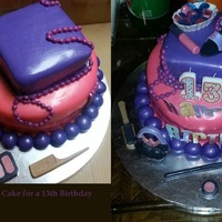 Make-Up Birthday Cake *Vanilla cake with grape and strawberry swirls, a guava and cream cheese filling, condensed milk frosting and grape and strawberry fondant...