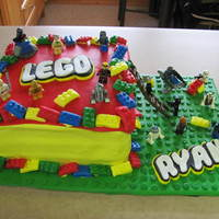Lego Cake This is a rainbow cake with cookies and cream filling. The boy went through all 41 pages of lego cakes on cake central and sent me the 6 he...