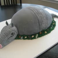 Armadillo Groom's Cake This was the bride's idea. :) The cake itself is French Vanilla Cake colored a dark red. The head is made from RKTs. Fun cake to make...