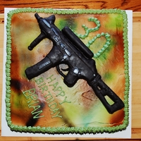 "Modern Warfare 3  12"" cake with RKT gun covered in fondant, airbrushed. First time using the airbrush and creating something with RKT - pretty happy..."