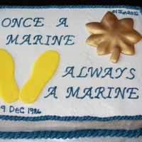 Usmc Retirement Cake 9x13 sheet cake... chocolate cake with chocolate ganache filling covered in buttercream icing with fondant accents.
