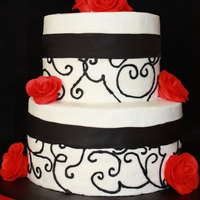 Black & White With Red Roses