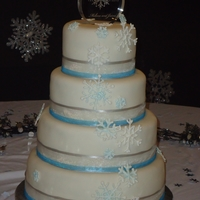 Winter Wedding This is my second wedding cake I have made. I made this one for a friends wedding in December 2011. All teirs are chocolate fudge with...