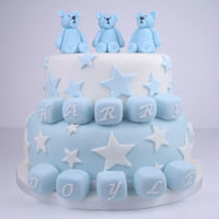 Boy's Christening / Baptism Cake Bears and Blocks cake - fondant covered chocolate truffle cake with fondant teddy bears, building blocks and stars