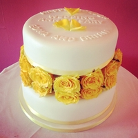 Golden Wedding Anniversary Cake 2 tier fondant covered cake with fresh golden roses