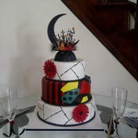 Nightmare Before Christmas Wedding For my sisters wedding. The Groom wore the black suit with red pin stripes. Therfore they asked that the middle tier be half patchwork like...