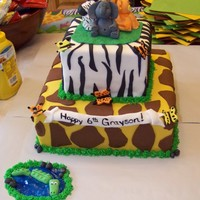 Safari Cake fondant covered cake with fondant elephant, giraffe, lion, alligator, butterflies, and zebra. Inspiration for many different cakes on here...