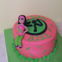Zumba Birthday Cake for Zumba instructor with fondant figure