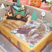 Hunting Cake For an avid moose hunter. Although my moose ended up looking more like deer, he still loved it. I did see the topper on the net, but can&#...
