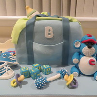 Baby Shower Cake I did for a friend's baby shower. Thanks to Cake Central for all of the inspiration!