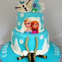 Frozen Birthday Cake Birthday cake for twin girls. Thanks to whitecrafty for the inspiration and tips. They worked like a charm!