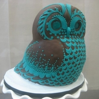 "Stylized Owl The client said ""I want and owl, and I want it brown and teal"", and I went to town! Original design with hand-cut fondant and..."