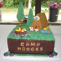 Camping Groom's Cake I made this cake for a friend's wedding. Both the Bride and Groom love to go camping. The cake is Double Chocolate Fudge with...