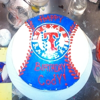 Texas Rangers Birthday Cake Texas Rangers Birthday Cake hand piped logo