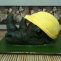 Rhino Cake I was asked to make a rhino cake with a hard helmet for my clients husbands birthday.This was my first attempt at an animal 3d cake. She...