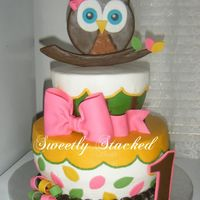 Owl First Birthday Cake Owl first birthday cake.