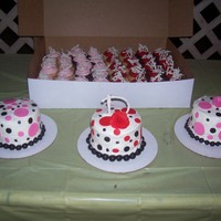 Mini Style MIni Chocolate Cakes, w/ B.C and fondant polka dots & cupcakes w/ white choc. drizzle pieces3 B-day's in 1