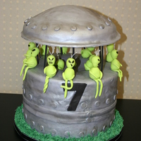 Alien Spaceship 2 double layer 10 inch cakes stacked on top of each other, so that we could satisfy chocolate and vanilla sweet tooths! Filled with SMBC...
