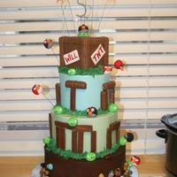 Angry Birds Cake  This was for my son's 5th birthday. The design for the top tier was inspired by a cake by Royal Bakery in Campbell, CA ( http://www....