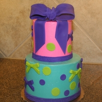 Girly Cake The bottom tier was a 6 inch, triple layer cake iced in SMBC with fondant accents and the top was a 4 inch, triple layer cake iced in SMBC...
