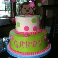 Pink Mod Monkey This was for a sweet baby girl's first birthday. My friend sent me a picture of another cake that was similar to this one. This is a...