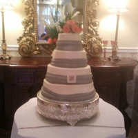 Round Wedding Cake Butter cream with fondant ribbon