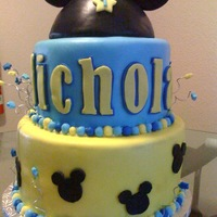 Mickey Mouse Made this cake for my friends nephew, it was his first birthday, and mickey themed. Mickey hat: Ball Pan for Head portion, Mickey Ears:...
