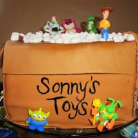 Toy Story Themed Cake So the concept of the cake was to make it look like a moving box with the toys escaping. I made a rope, braided out of fondant, the cake...