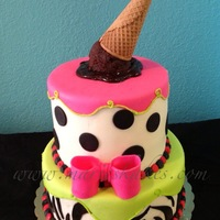 "Ice Cream, Polka Dot, Zebra Cake Buttercream and fondant cake. Chocolate ganache ""ice cream""."